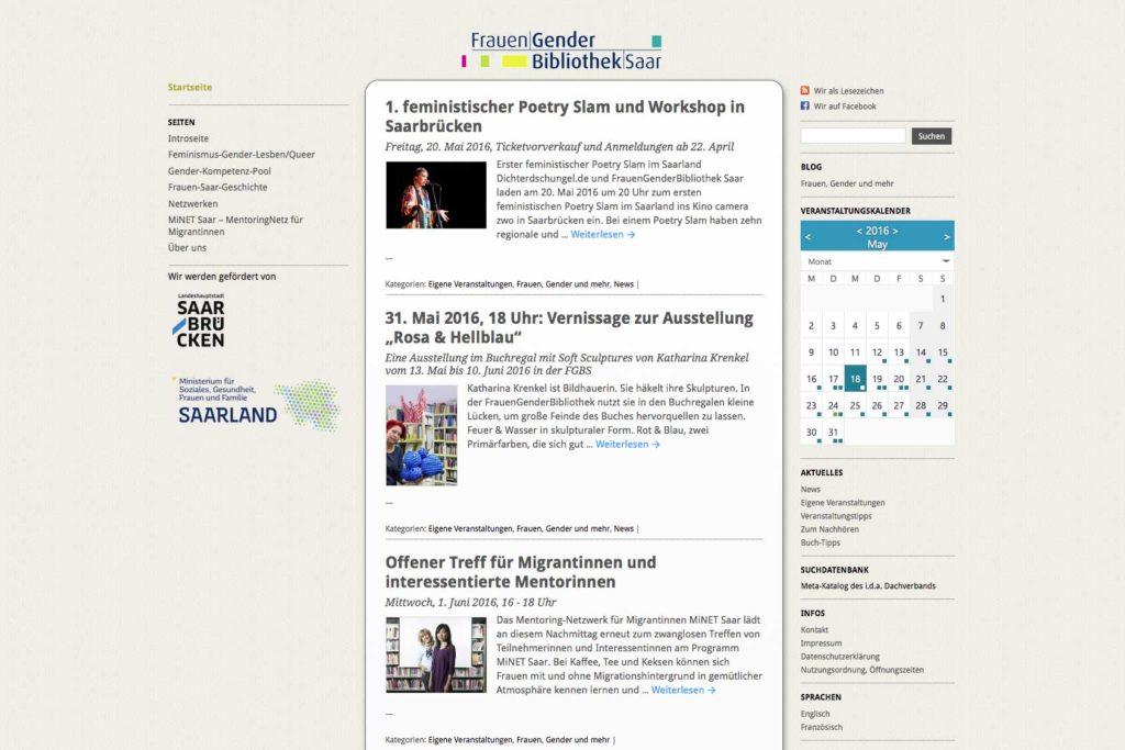 Webseiten / Homepage FrauenGenderBibliothek Saar (FGBS) mit WordPress