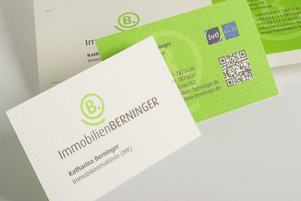 Corporate Design Immobilien Berninger Darmstadt: Logo/Signet, Icon, Visitenkarte Ausschnitt