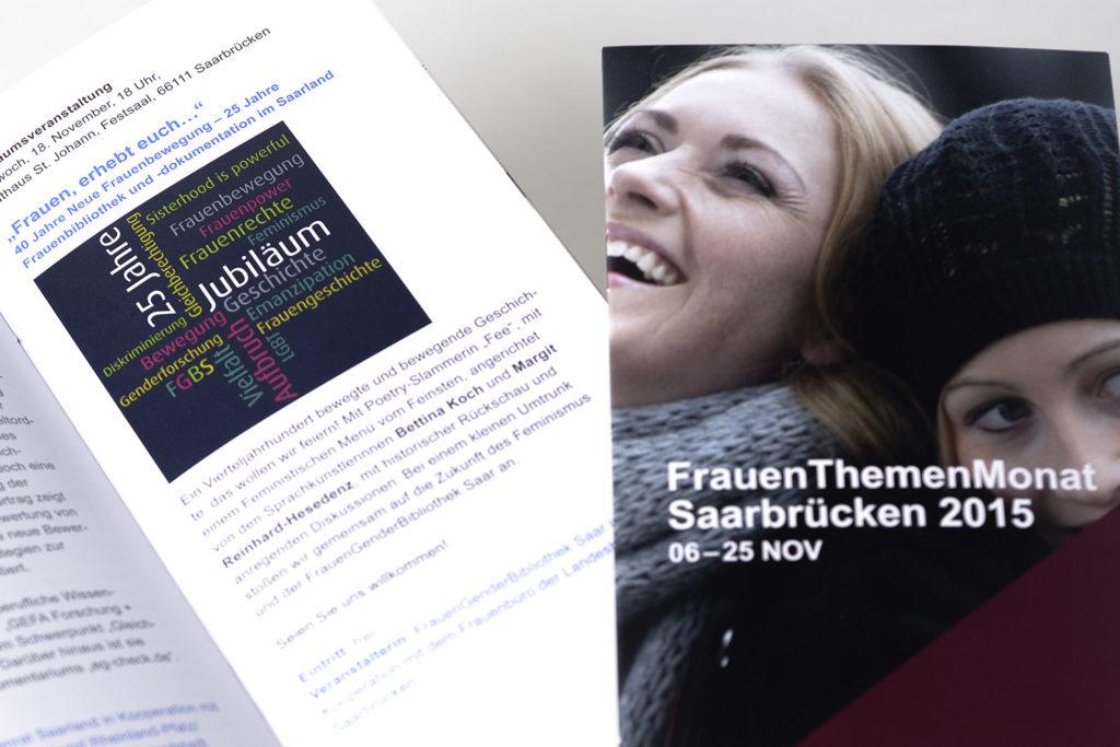 """Grafikdesign Broschüre und Plakat Frauenbüro der Landeshauptstadt Saarbrücken """"FrauenThemenMonat Saarbrücken 2015"""" Ausschnitt"""