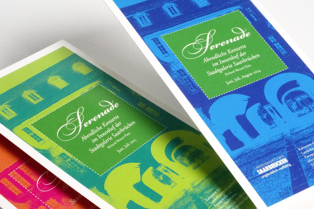 """Grafikdesign Postkarte Kulturamt der Landeshauptstadt Saarbrücken: Programm """"Serenade 2012 bis 2014, Abendliche Konzerte im Innenhof der Stadtgalerie Saarbrücken"""""""