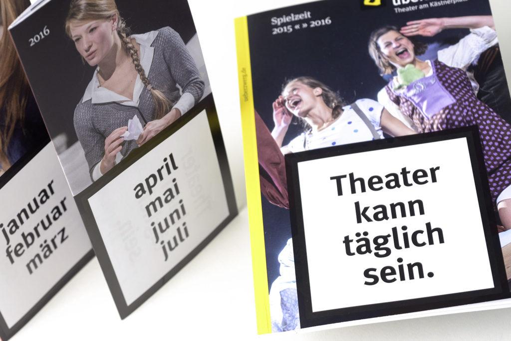 Grafikdesign Broschüre und Faltblätter Überzwerg Theater Saarbrücken: Monatsspielpläne, Jahresspielplan Spielzeit 2015/2016 Ausschnitt