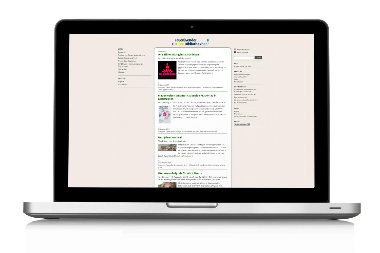 Fachbibliothek Frauengenderbibliothek Saarbrücken Webdesign Startseite