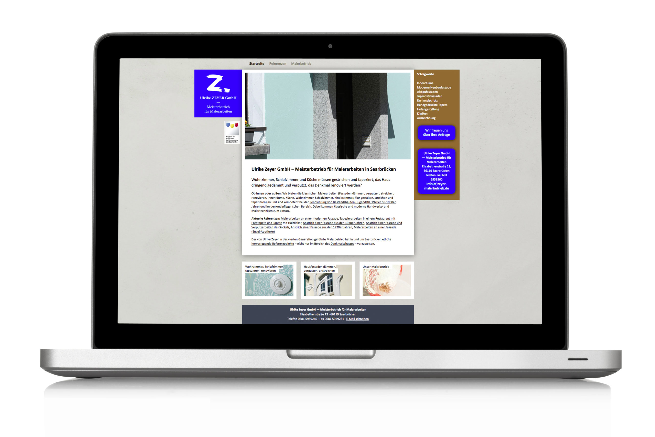 Webdesign Schuhhersteller Zeyer Malerarbeiten Website