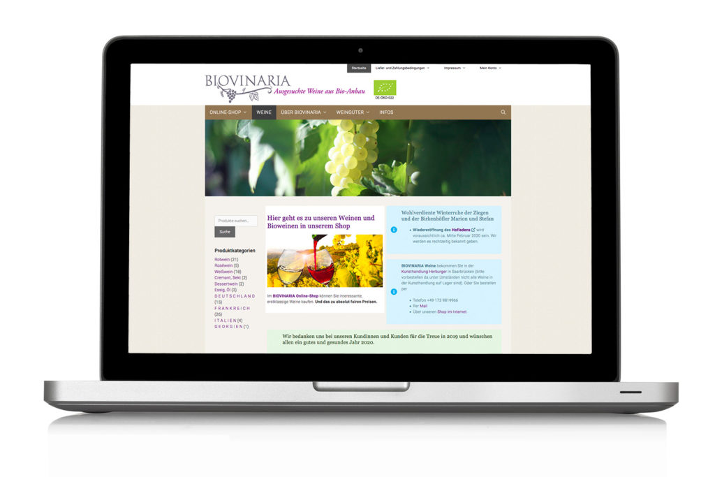 Webseite BIOVINARIA Website mit Online-Shop mit Wordpress
